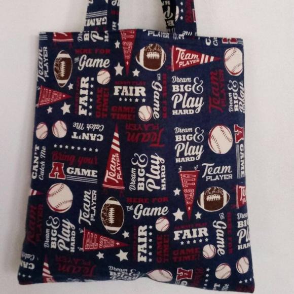 Handmade Handbags - Play Baseball Blue Flannel Tote
